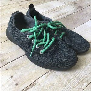ALLBIRDS Mens Gray Wool Runners Green Lace Sneaker